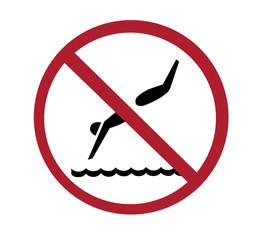 sign - no diving with paths
