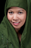 Asiatic islamic woman smiling poster