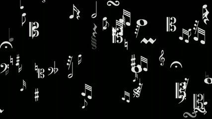 music notes area white on black