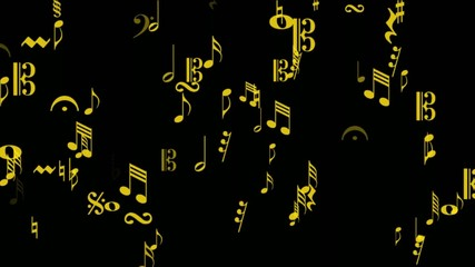 music notes area gold on black
