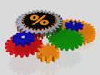 Prozentzeichen auf einem Zahnrad - 3D
