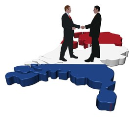 Business people meeting on Netherlands map flag illustration