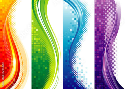 Design set of vertical modern backgrounds, vector layered.