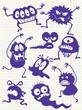 Silhouettes of doodle monsters-bacterium-aliens
