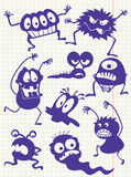 Silhouettes of doodle monsters-bacterium-aliens poster