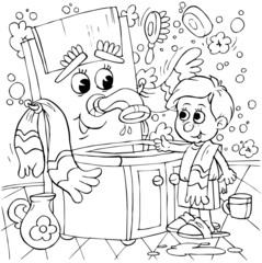 Boy and washstand