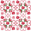 seamless background with hearts and roses