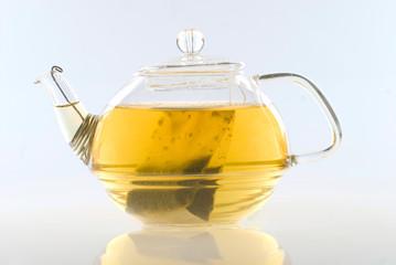 Glass tea pot with tea
