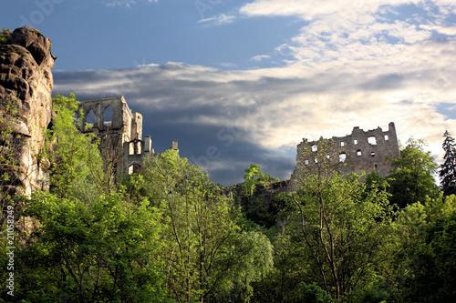 Leinwanddruck Bild Klosterruine Oybin