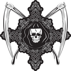 Skull in cross