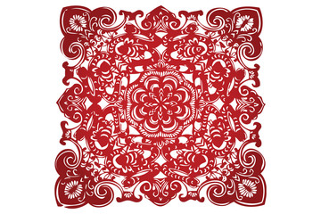 Vector of Traditional Chinese Paper-cut for Happiness