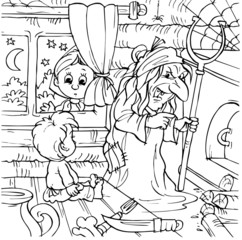 Little girl and boy in a house of witch