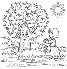 Little girl and apple tree