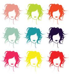 têtes de femmes colorées