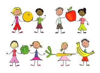 8 enfants fruits et légumes