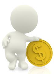3D man with golden coin
