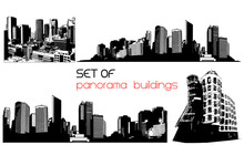 Czarno-białe, panorama miasta. Vector sztuki