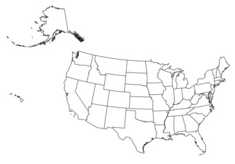 vector outline map of united states