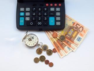 Geldschein Taschenuhr Rechner