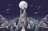 Panorama with medieval castle in the night. Vector illustration