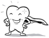 vector happy superhero tooth (black and white)