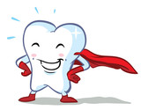 vector happy superhero tooth - part of a series!
