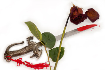 Faded rose, blood-stained knife, means the end of life