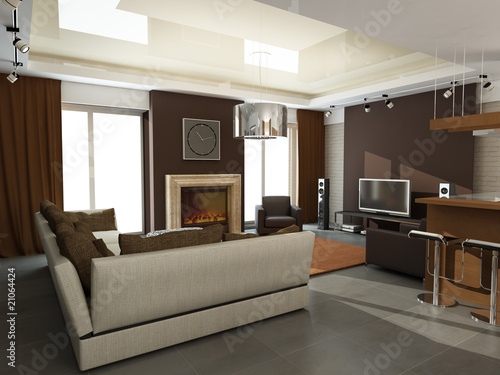Illustration: modern interior design (privat apartment 3d rendering)