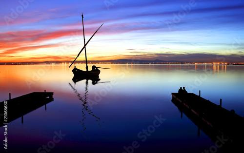 Deurstickers Pier barca en el mar
