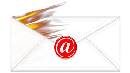 Sobre ardiendo y simbolo de e-mail