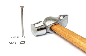 Nail which mark checkbox and hammer on white