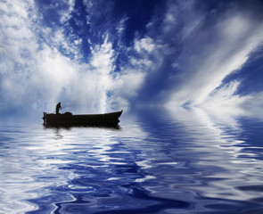 cielo en el agua