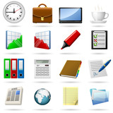 Business and office icons set. EPS10 file. poster