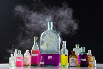Magic spells in antique bottles