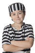 Smiled child with prisoner costume