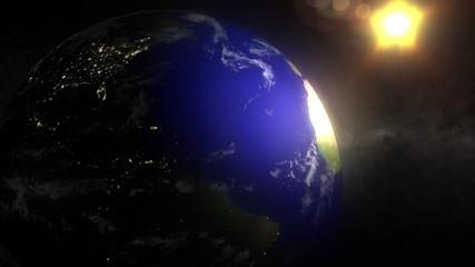 Earth Orbit Night Side City Lights Sun Stars LOOP
