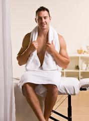 Man waiting for massage