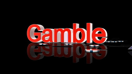 Gamble text with casino chips and cards falling