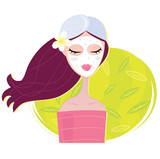 Spa girl with regeneration facial mask. VECTOR. poster