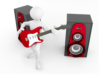 Men with guitar and loudspeaker