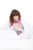 ill girl holding pills poster