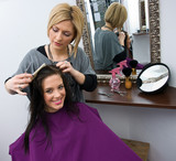 hair stylist at work in salon poster