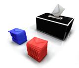 Elections 3D et bulletin de vote rouge bleu poster
