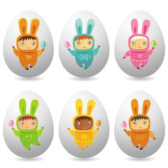 Easter eggs with cute little babies