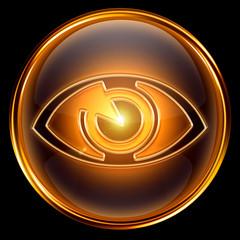 eye icon golden, isolated on black background.