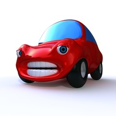 cartoon  3d red sad car