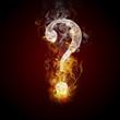 Question symbol burning, fire