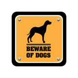 Beware of dogs warning sign poster
