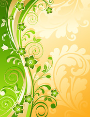Gold and green floral background