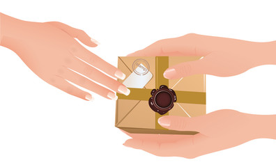 Hands holding parcel